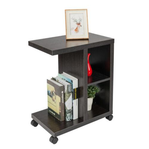 Rolling Accent Tables End Table With Storage Shelf Espresso
