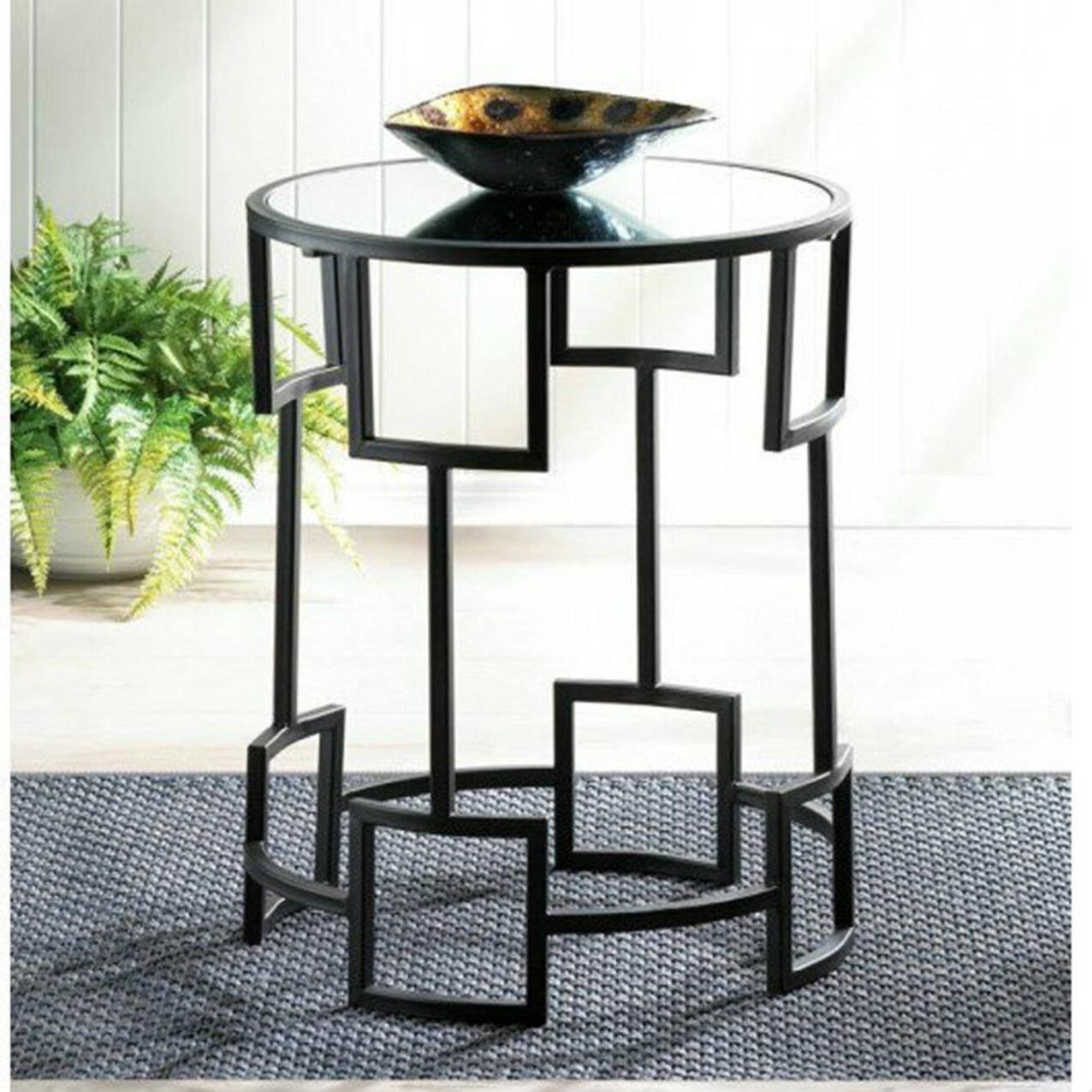 Round Side Table Mirror Top Night Stand Iron End Table Moder