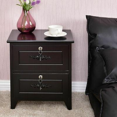 Solid W/2 Locking Drawer End Table Cabinet Black