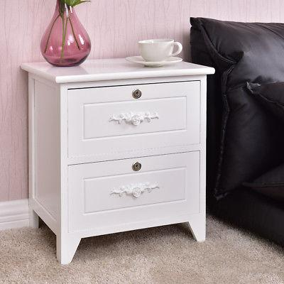 Solid Wood Stand Locking Storage Table White