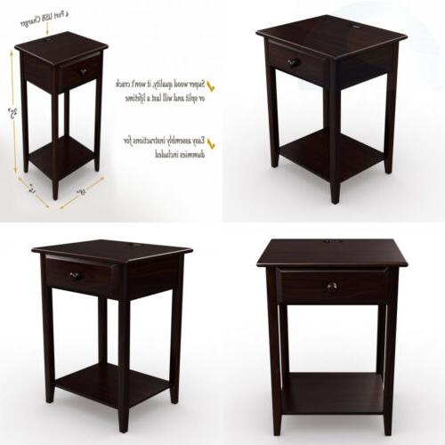 Stony-Edge Night Stand End Accent Table, with USB Port. Espr