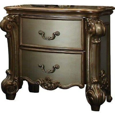 Vendome Traditional 2-Drawer Nightstand With Gold Patina Car