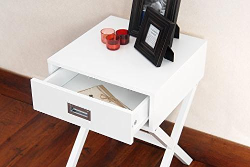 White Finish Modern Accent Side Nighstand with