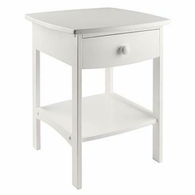 Winsome Wood End Table/Night Stand with Drawer and Shelf, Wh