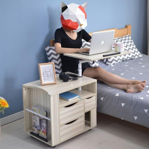 Adjustable Angle Height Rolling Laptop Notebook Night Table