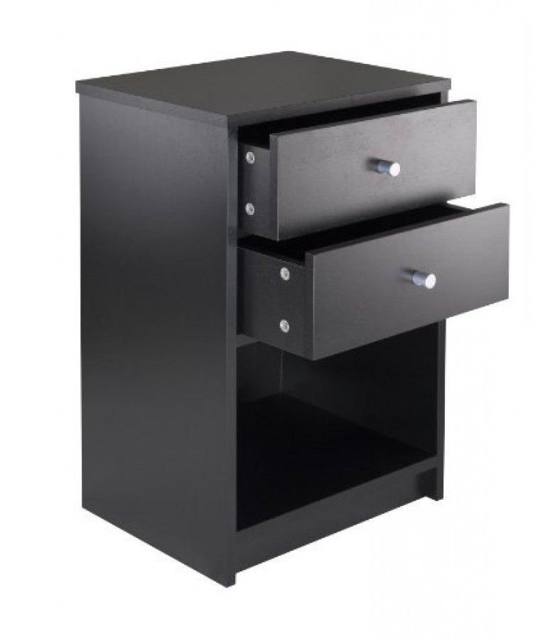 Winsome Ava Accent Table with 2Drawer in Black Finish, New,