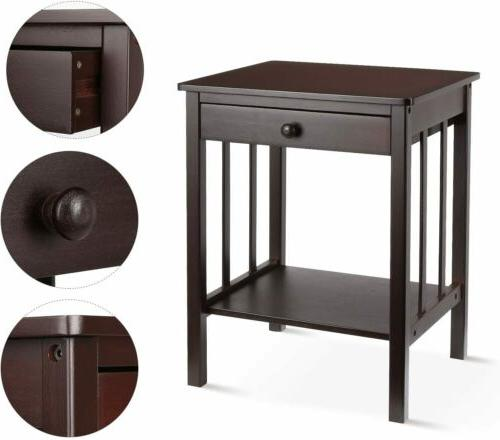 Vintage Night Stand 2 Layer W/Drawer Table
