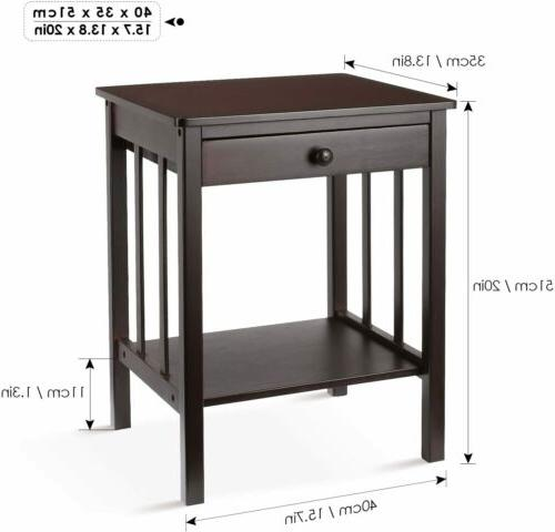 Bamboo Night Layer 1 Drawer Bedside End Table Dark