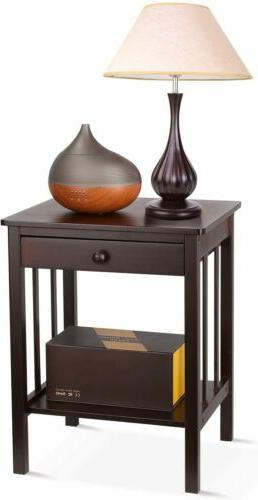 Bamboo Night Stand 2 Layer 1 Drawer Bedside End Table Organi