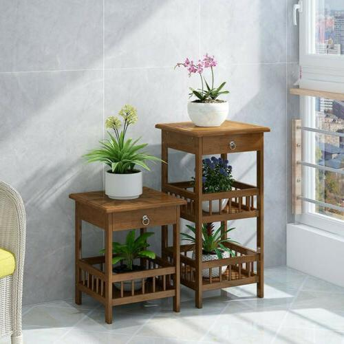 Indoor Outdoor Plant Stand Flower Pot Rack with Drawer End T