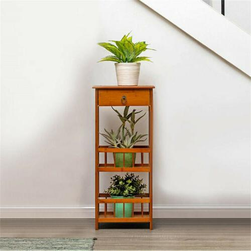 Bamboo Side with Night Stand Drawer Plant
