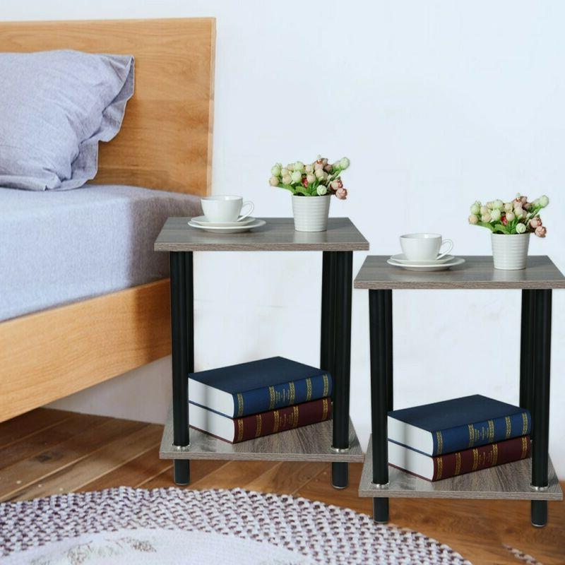 Set of 2 Night Stand 2 Layer Bedside End Table Organizer Bed