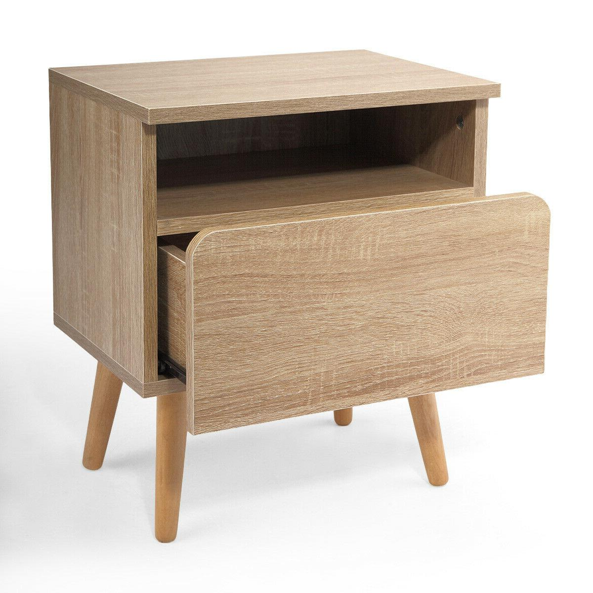 Bedroom Stand End Table 2 w/Drawer Shelf