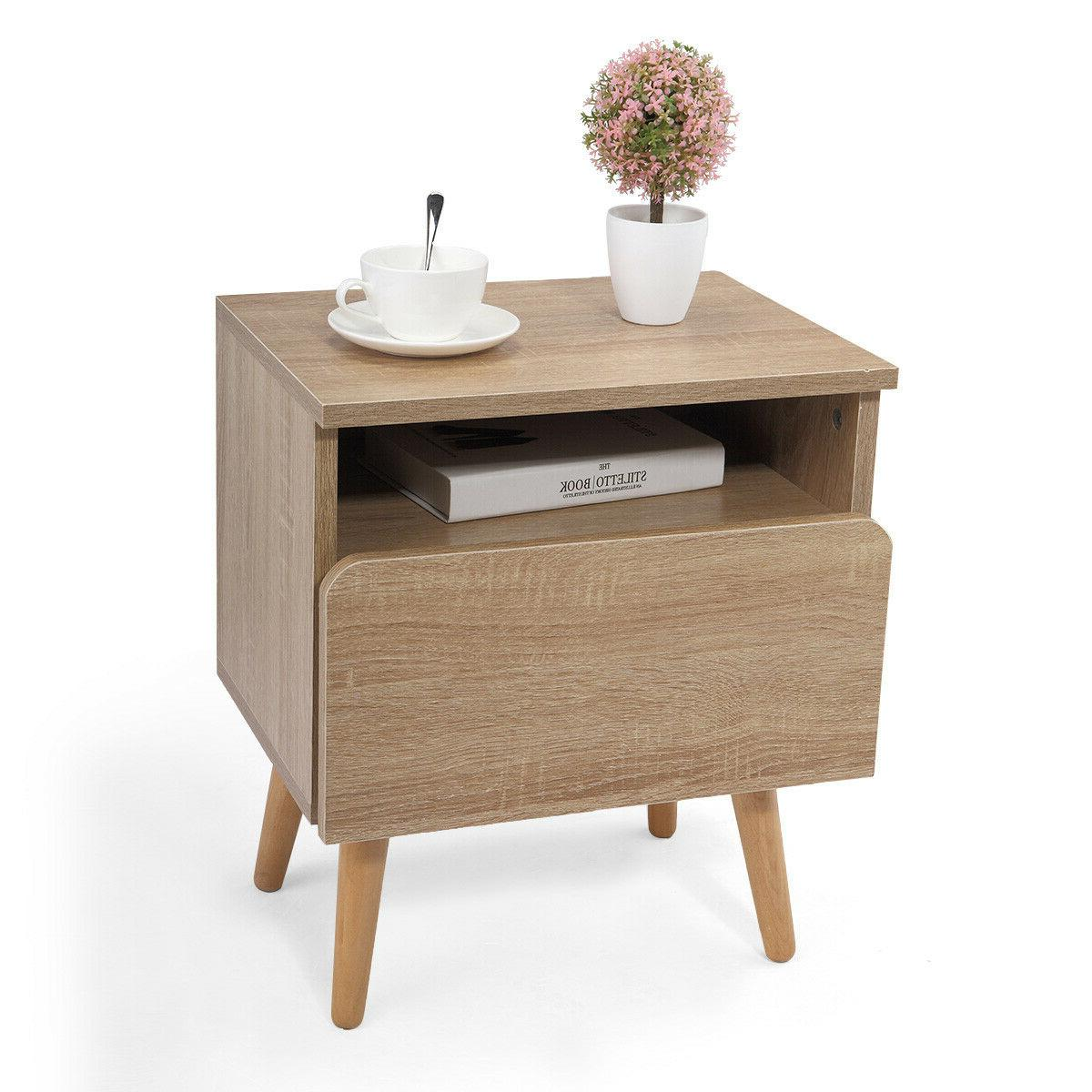 Modern Nightstand Bedside End Table Storage Cabinet w/ Drawe