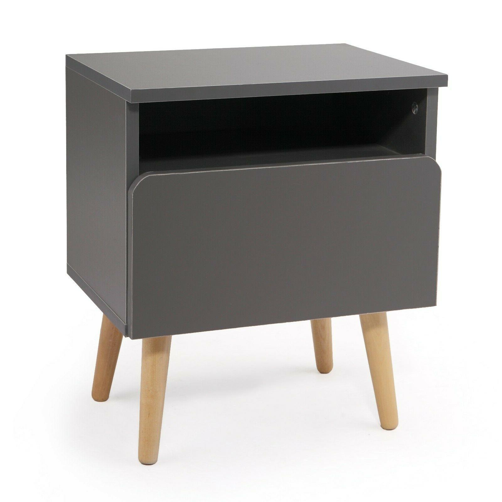 Bedroom Nightstand Side Drawer Gray