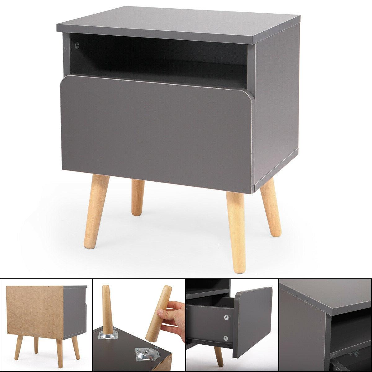 Bedroom Nightstand Bedside Side Accent Drawer Silver