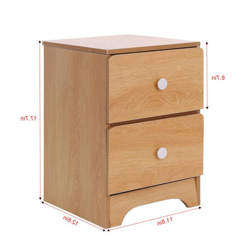 Bedroom Set of 2/1 Night Table Furniture Storage Wood 2 Colour