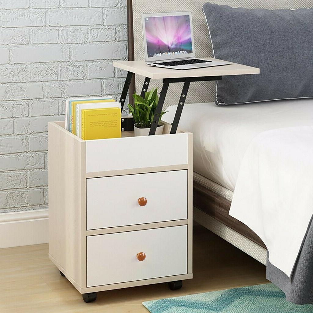 Bedside End Table Lifting Table 2 Drawers Nightstand Modern