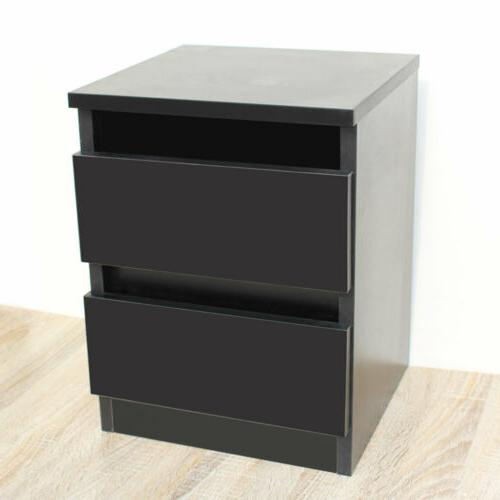 Bedside Stand Layer Sofa Table Storage Wood Black