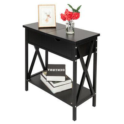Bedside Night 2 Layers Drawer Table Organizer Black