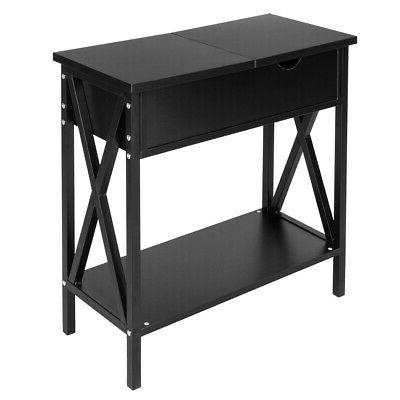 Bedside Layers Drawer Table Storage Black