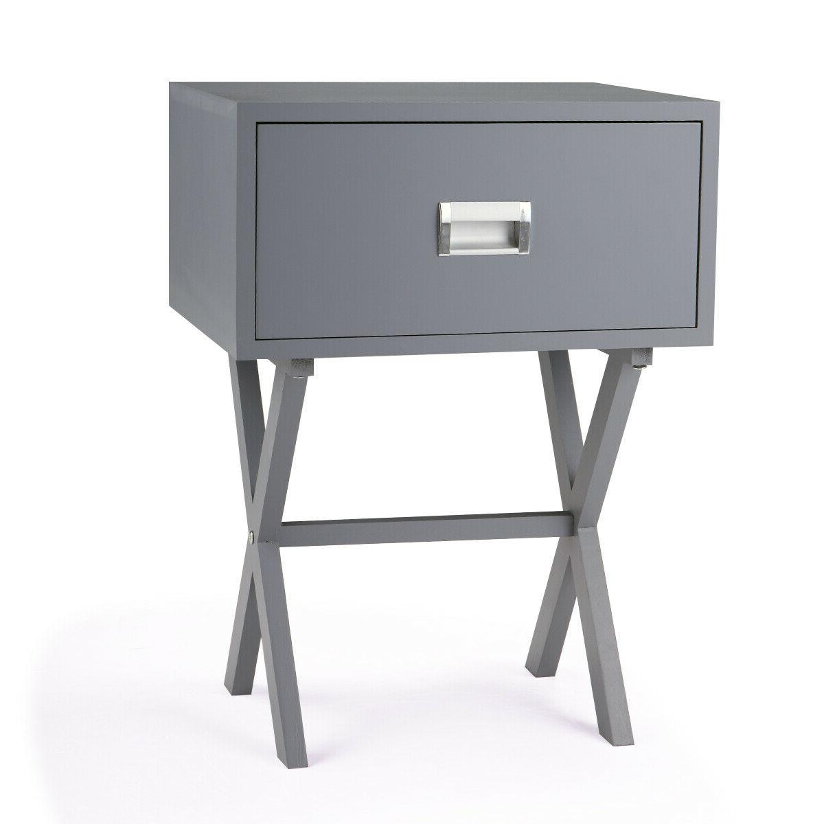 Bedside with drawer and Stand Wood Gray