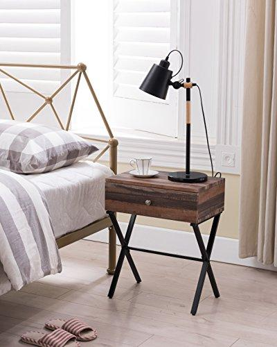 black metal frame nightstand side