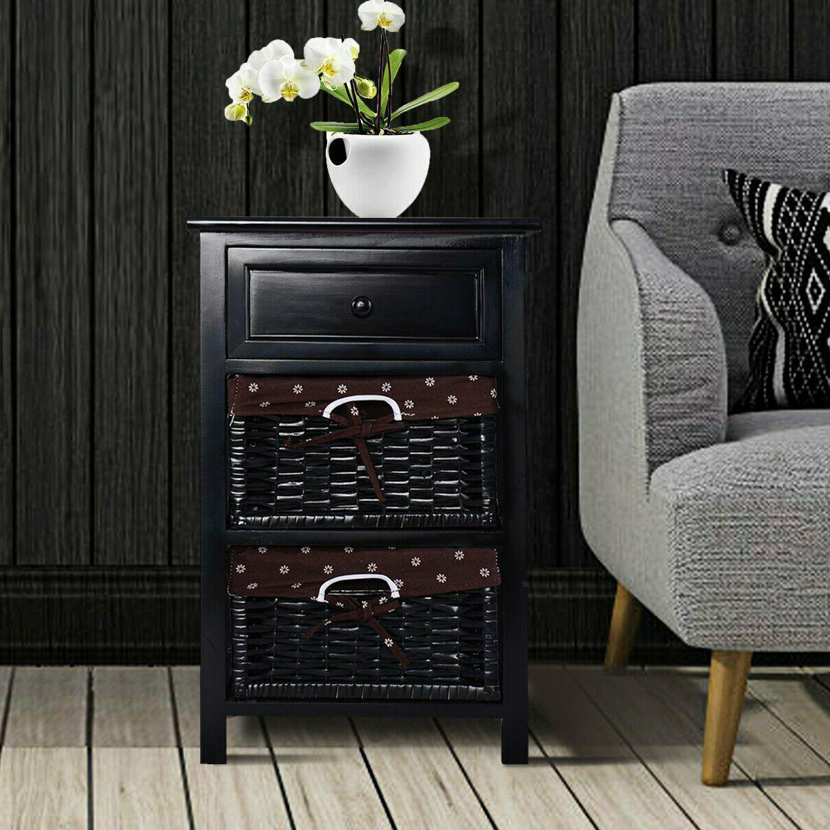 Costway Black Night Stand 3 Tiers 1 Drawer Bedside End Table