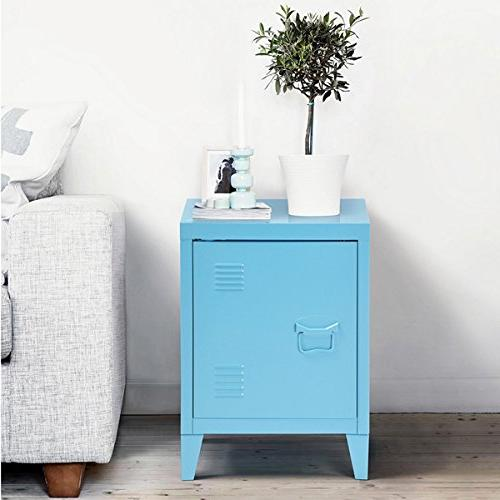 blue metal nightstand cabinet side