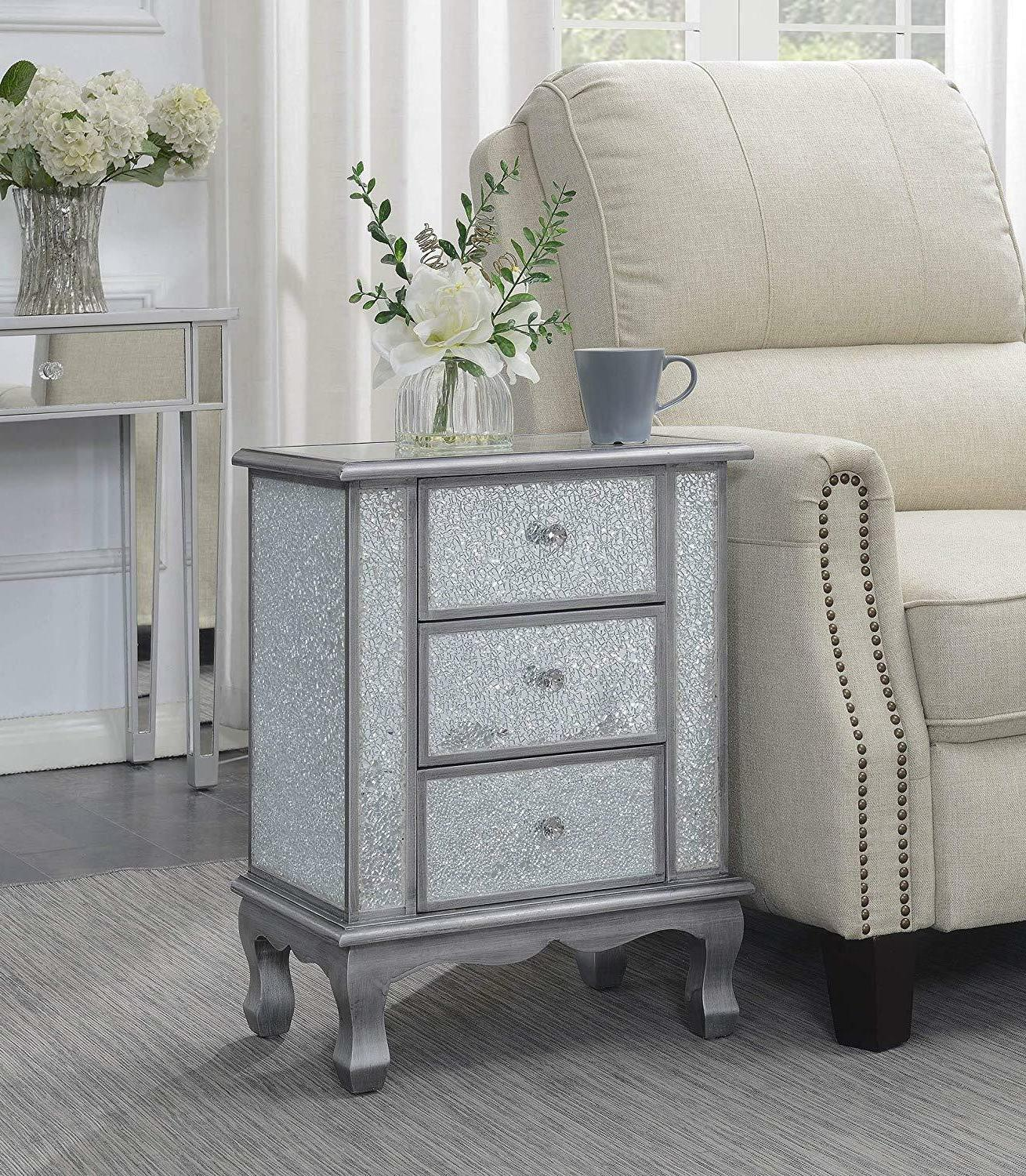 Convenience Concepts Collection 3-Drawer Mirrored Table,