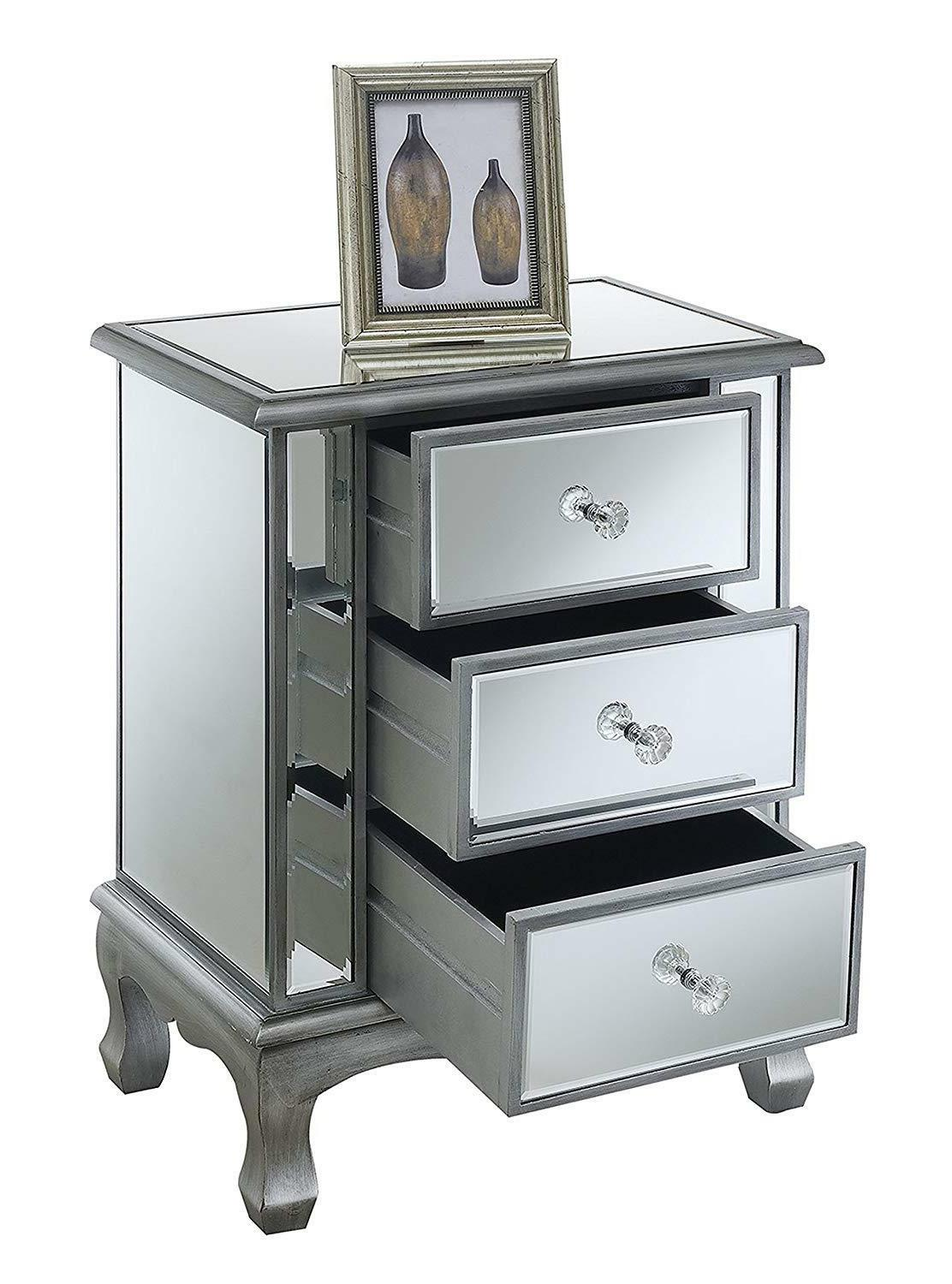 Convenience Coast Collection 3-Drawer Mirrored Table,