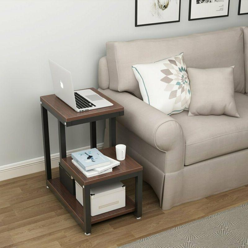 Country Table, 3-story Chair Side Night With Storage Shelf Table