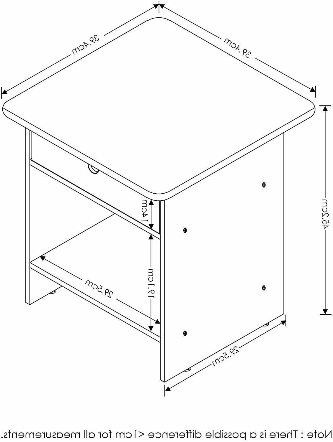 FURINNO End Table/Night Stand Pink/Light Pink