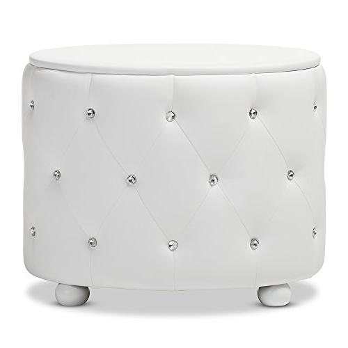 Glamour Style 2-Drawer Faux Upholstered Nightstand, Medium, White