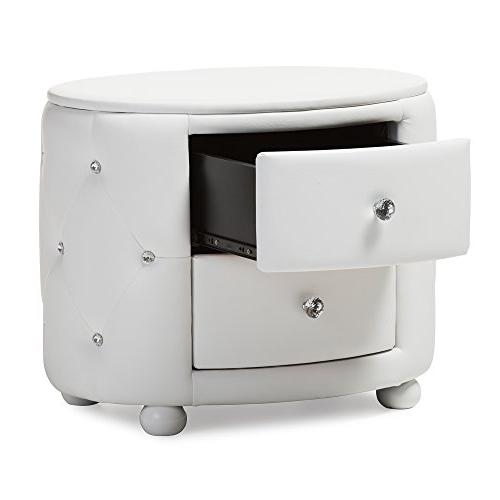 Baxton Glamour Style Faux Leather Nightstand, Medium, White