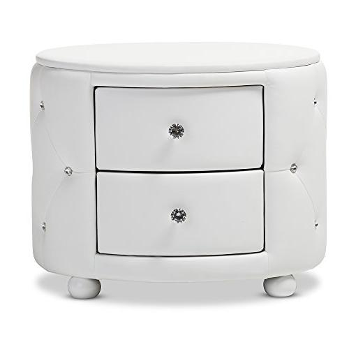 Baxton Hollywood Glamour Faux Upholstered Nightstand, Medium, White