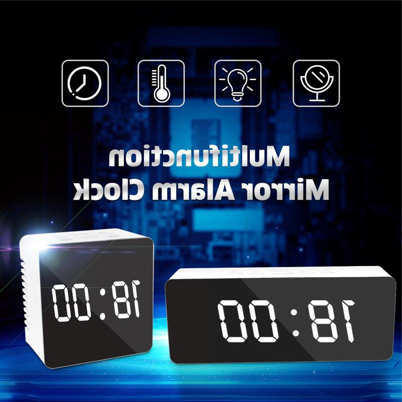 Digoo <font><b>Mirror</b></font> Lights Black Clock