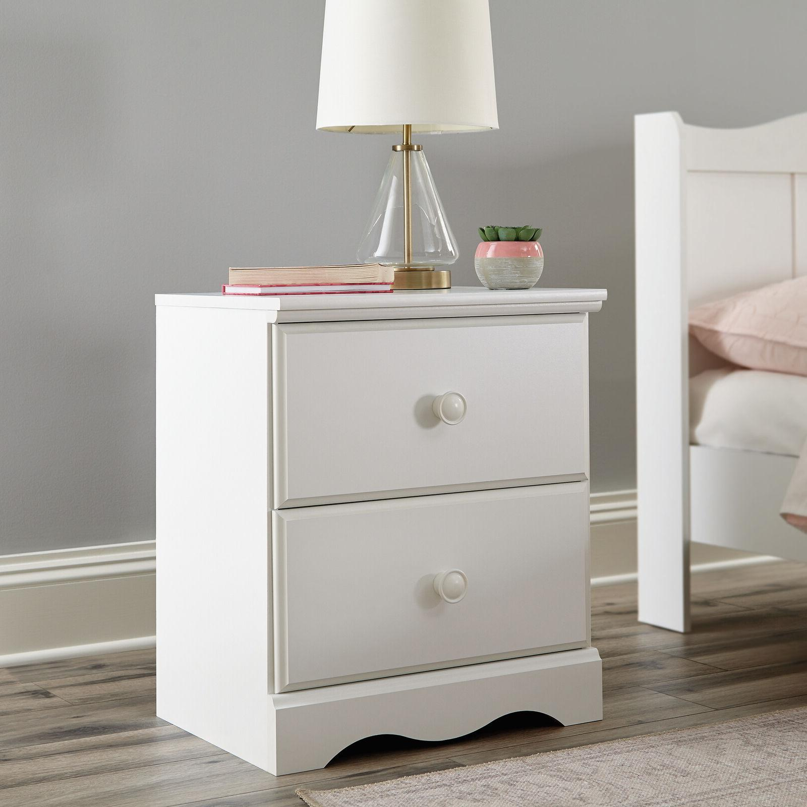 2-Drawer Nightstand Bed Side Table Lamp Stand Kids Teens Bed
