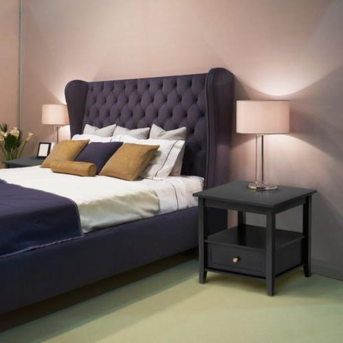 End Side Table Night Stand Bedside Table Shelf