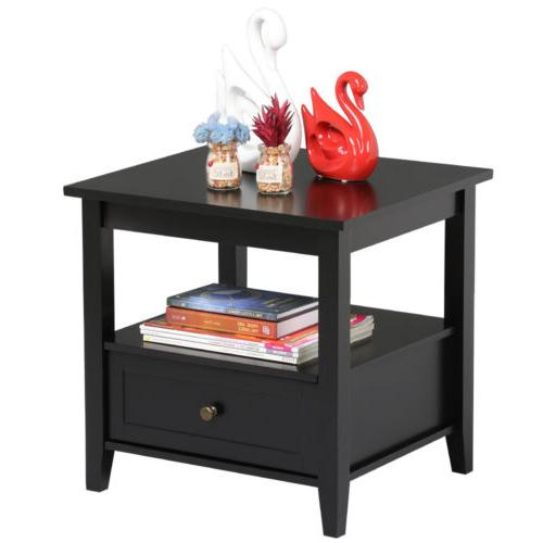 End Side Sofa Accent Hall Stand Shelf & Drawer