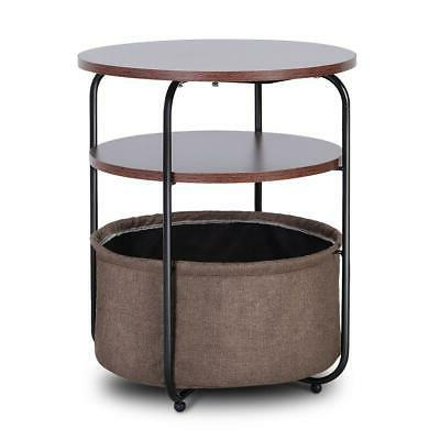 End Table Stand Sofa Bedside Table Living Room w/ Shelf Drawer