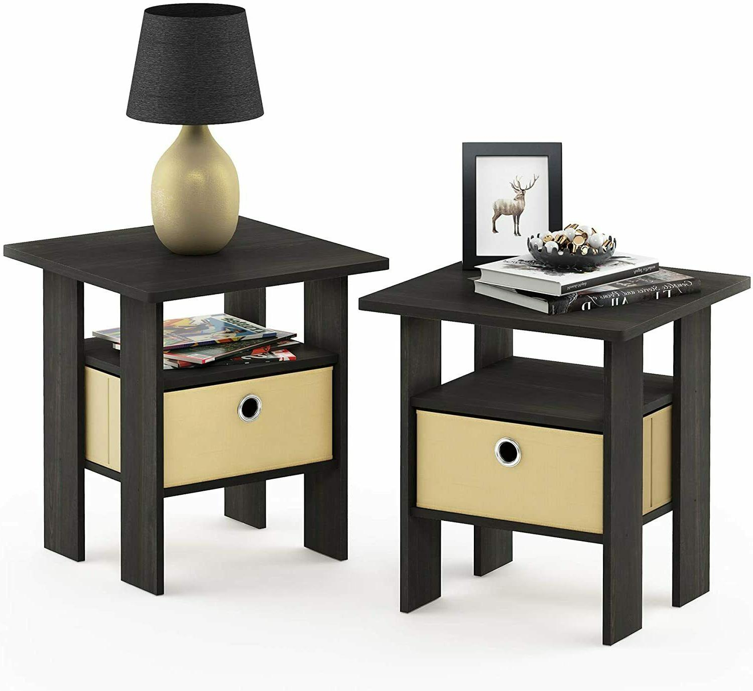 Furinno End Table Bedroom Night Stand, Espresso, Set of 2