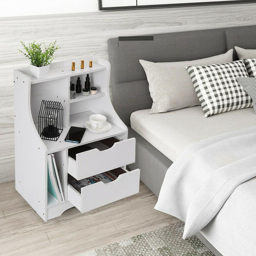 Nightstand Bedroom Accent Modern Storage Drawers
