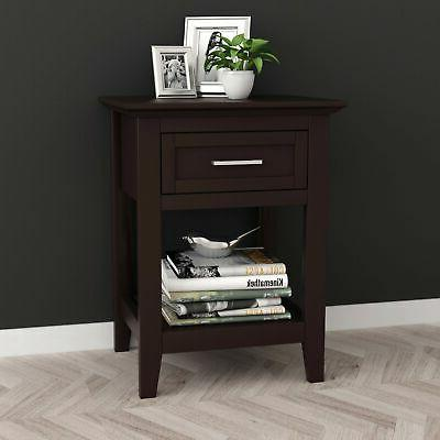 Espresso Finish Nightstand Side Table Lower and