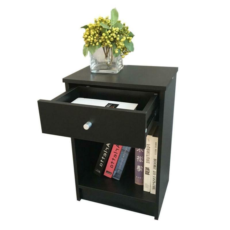 2 Night With Drawer Bedside End Table Bedroom