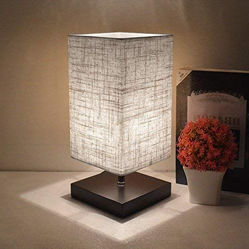 LED Fabric Table Lamp, Wood Desk Lamp with Flaxen for Coffee Table