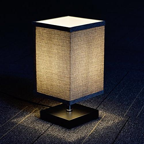 LED Fabric Lamp, Square Solid Wood Table Desk for Room, Kids College Coffee Table