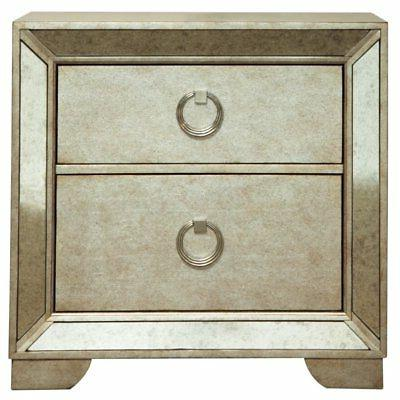 2 drawer nightstand in gold