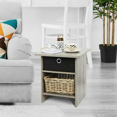 french oak gray black end table night