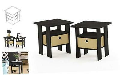 furinno end table bedroom night stand petite